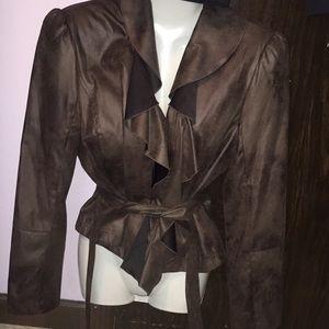 Worthington brown jacket with belt. Size Large.